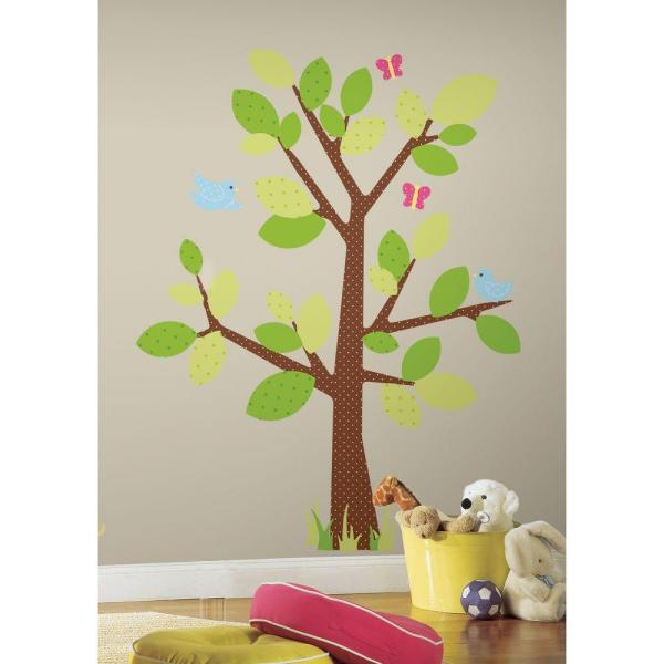 18 in. x 40 in. Kids Tree 47-Piece Peel and Stick Giant Wall Decal