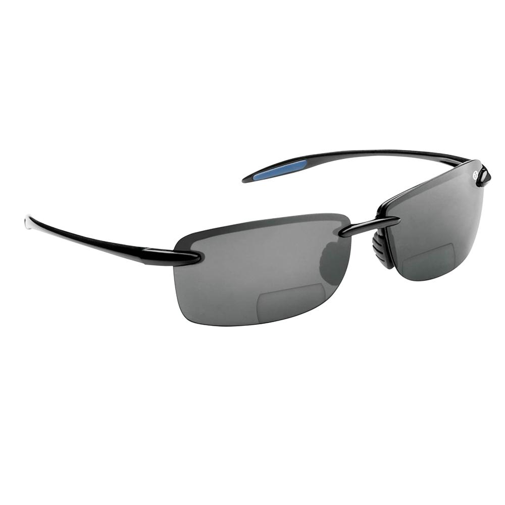 de857ce12a7aa Flying Fisherman Cali Polarized Sunglasses Black Frame with Smoke Lens  Bifocal Reader 200