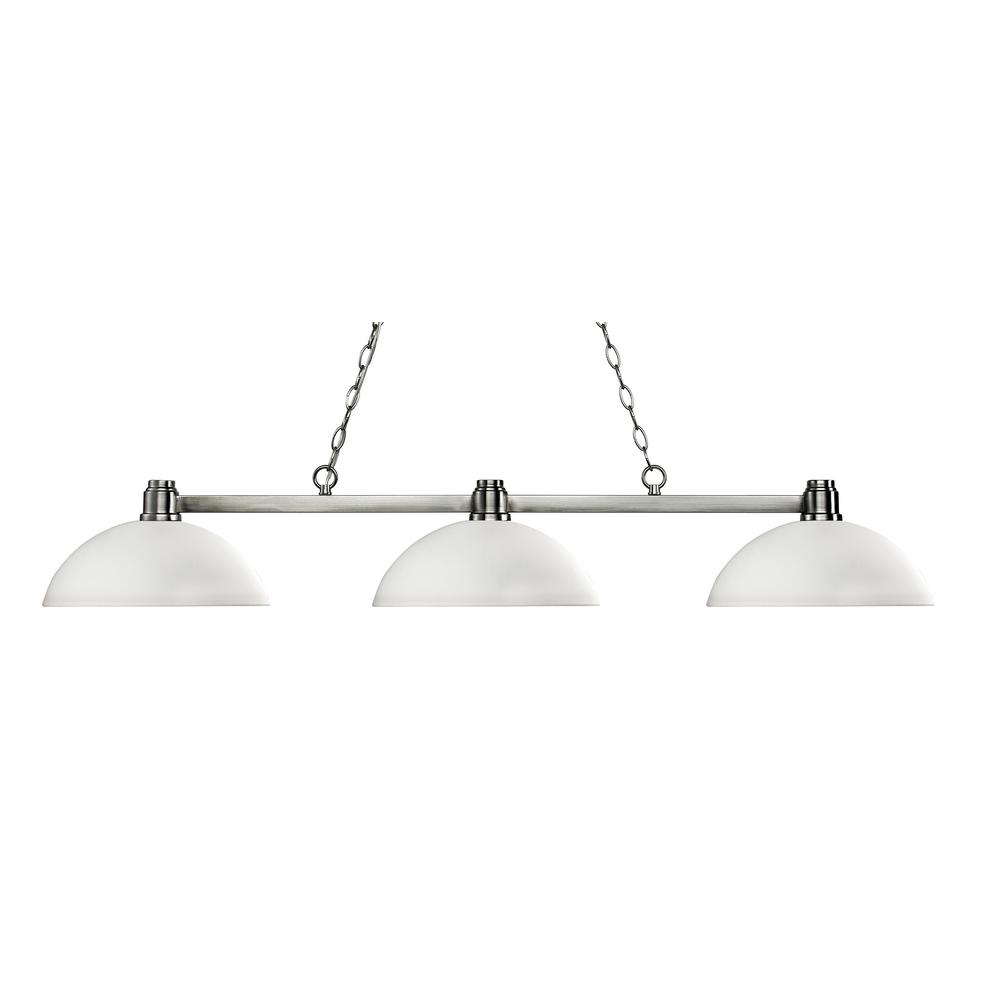 Peak 3-Light Brushed Nickel Billiard Light with Matte Opal Glass Shade