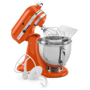 Artisan 5 Qt. 10-Speed Persimmon Stand Mixer with Flat Beater, 6-Wire Whip  and Dough Hook Attachments