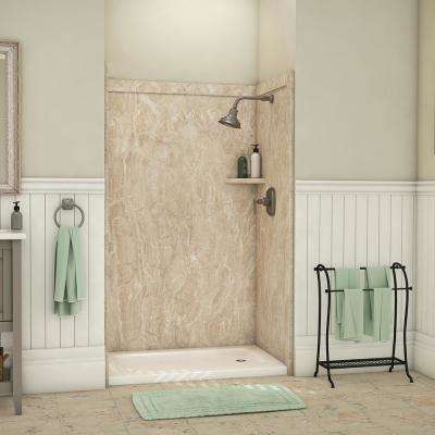 Elegance 36 in. x 48 in. x 80 in. 9-Piece Easy Up Adhesive Alcove Shower Wall Surround in Alaskan Ivory