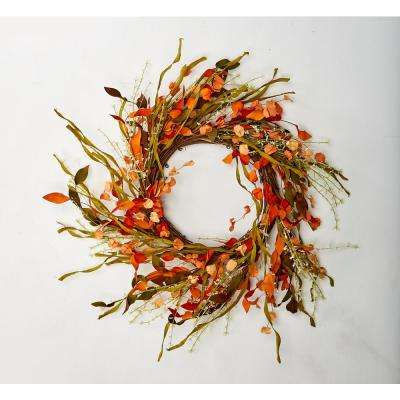 18 in. Fall Wreath with Seed Pods and Grasses