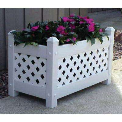 28 in. x 14-1/2 in. White Vinyl Lattice Planter