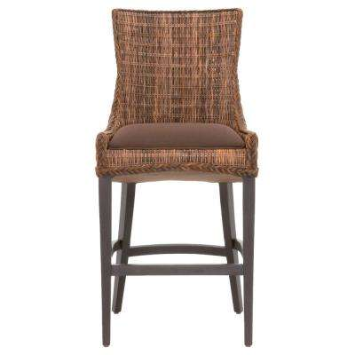 Greco 30 in. Brown Weave Wicker, Espresso Bar Stool (Set of 2)