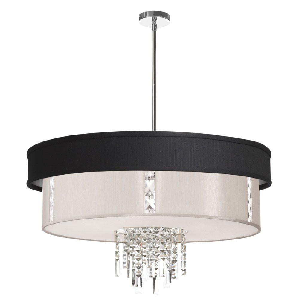 Rita 4-Light Polished Chrome Crystal Pendant with Black/Silver and Pearl Shade