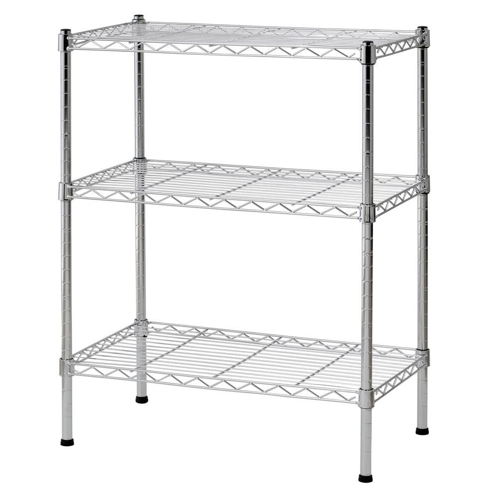 D 3 Shelf Steel Wire Commercial Shelving Unit In Chrome