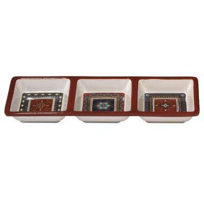 Monterrey 13.5 in. x 5 in. Multi-Colored 3-Section Relish Tray
