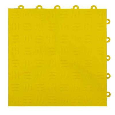 Diamond Top 1 ft. x 1 ft. x 1/2 in. Yellow Polypropylene Interlocking Garage Floor Tile (Case of 24)