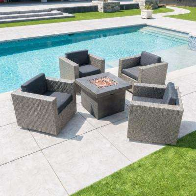 Puerta Mixed Black 4-Piece Wicker Patio Fire Pit Seating Set with Dark Grey Water Resistant Cushions