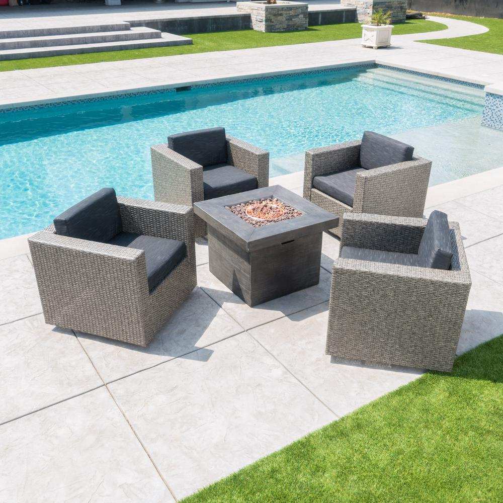 Noble House Puerta Mixed Black 4-Piece Wicker Patio Fire Pit Seating Set with Dark Grey Water Resistant Cushions