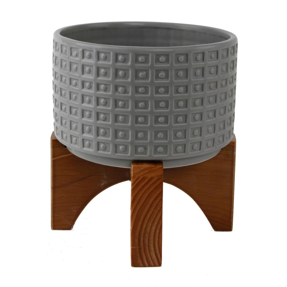 Flora Bunda 7 in. Matte Gray Ceramic Gladiator Texture Wood Stand Mid-Century Planter