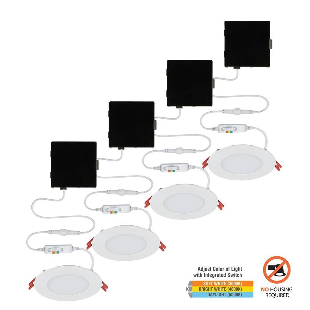 Commercial Electric Ultra Slim 4 in. Color Selectable Canless LED Recessed Kit (4-Pack)
