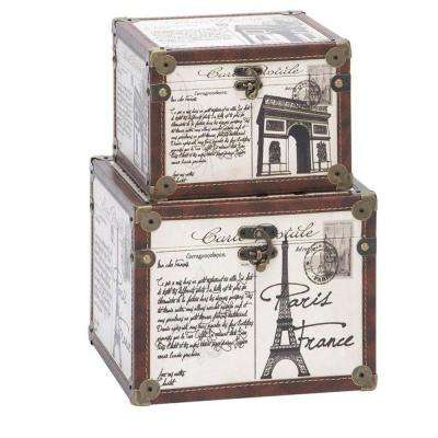 La France 10 in. x 8 in. White Wood and Leather Box (Set of 2)