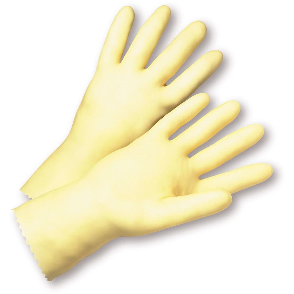 Size 7 Premium Amber-Latex Unlined Dozen Pair Gloves