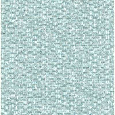 30.75 sq. ft. Aqua Poplin Texture Peel and Stick Wallpaper