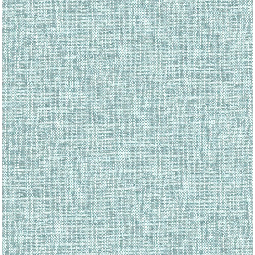 NuWallpaper 30.75 sq. ft. Aqua Poplin Texture Peel and Stick Wallpaper