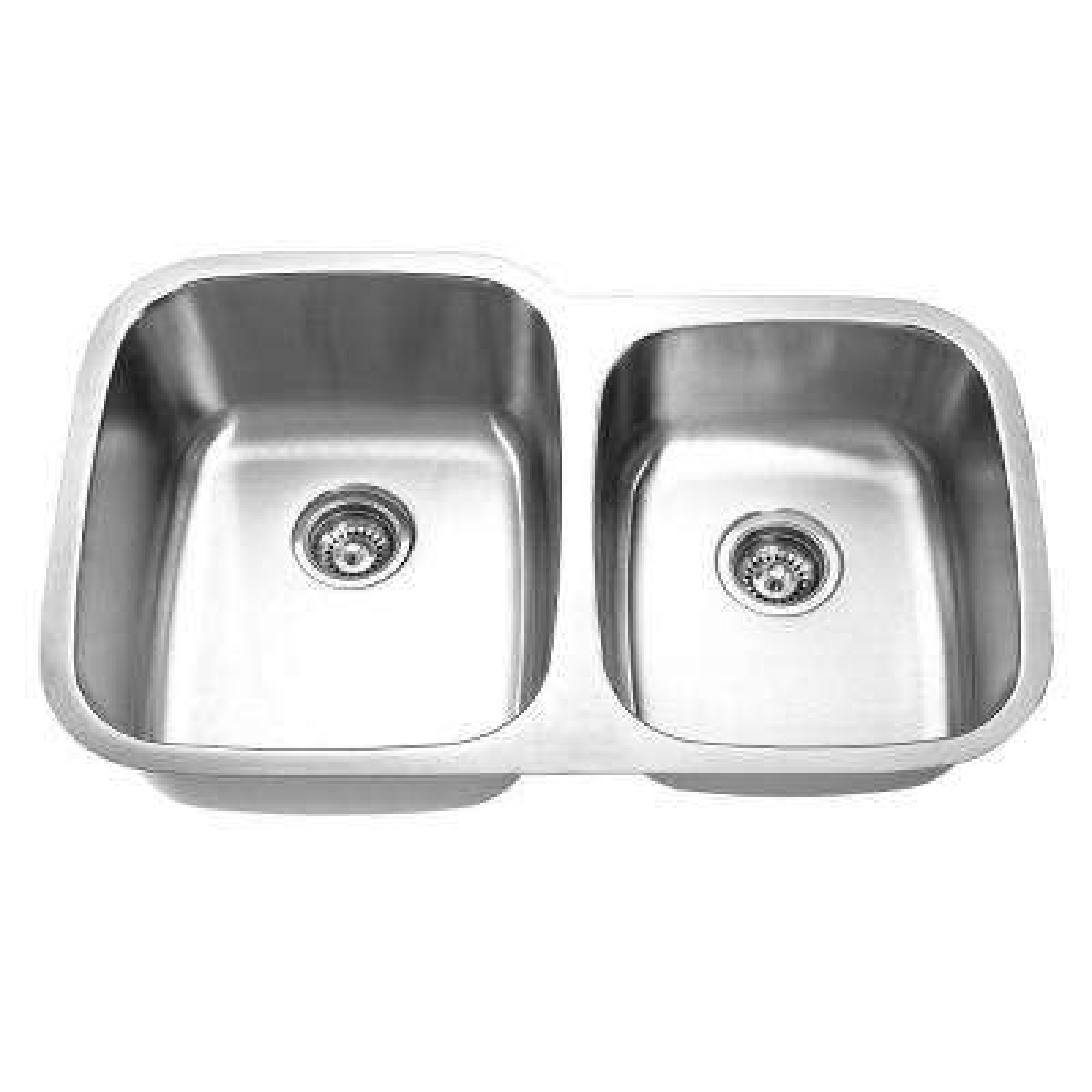 Undermount Stainless Steel 32 in. Double Bowl Kitchen Sink in Satin
