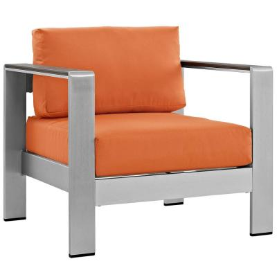 Shore Outdoor Patio Aluminum Lounge Chair in Silver with Orange Cushions