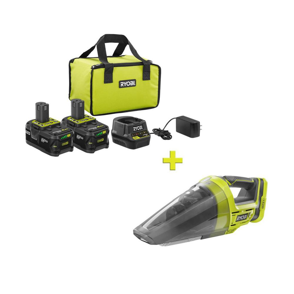 RYOBI 18-Volt ONE+ High Capacity 4.0 Ah Battery (2-Pack) Starter Kit with Charger and Bag with FREE ONE+ Cordless Hand Vacuum was $250.97 now $99.0 (61.0% off)