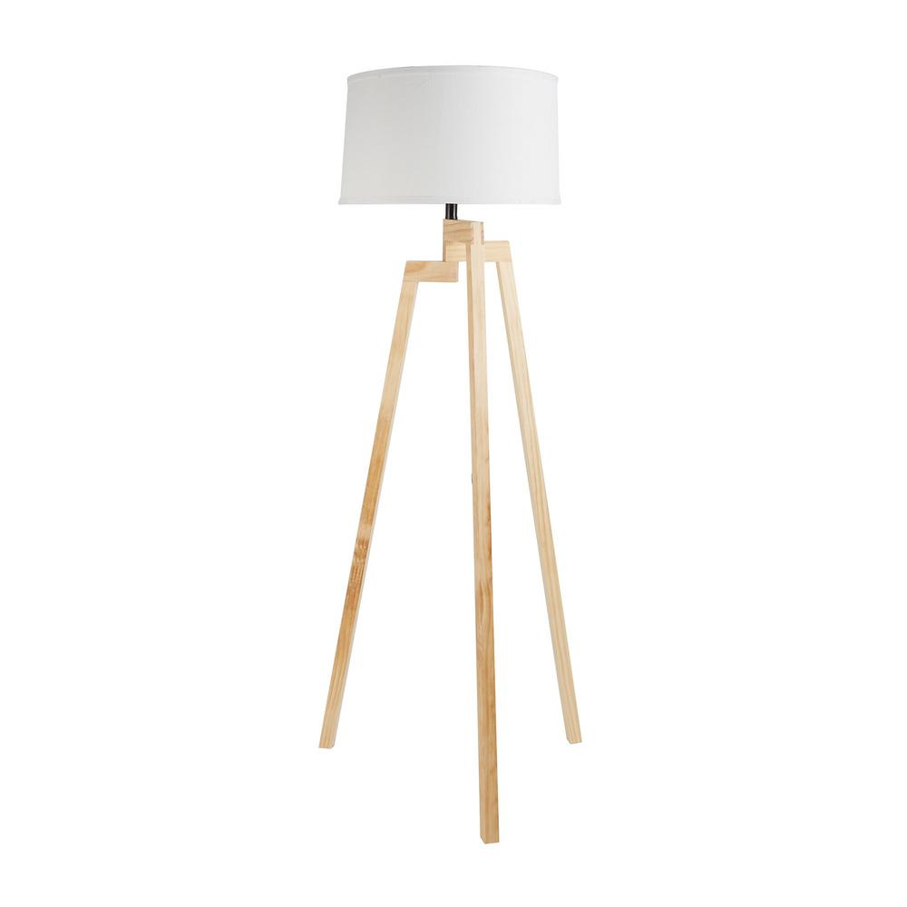 Silverwood Furniture Reimagined Escada 58 75 In Wood Tripod Floor Lamp With Shade
