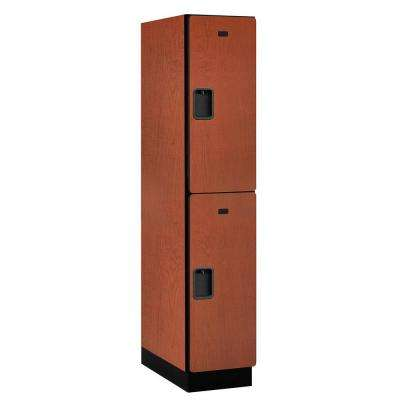22000 Series Double-Tier 24 in. D 2-Compartments Extra Wide Designer Particle Board Locker in Cherry