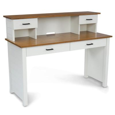 Portsmouth 54 in. W Rectangular Wood 4-Drawer White and Oak Writing Desk and Hutch