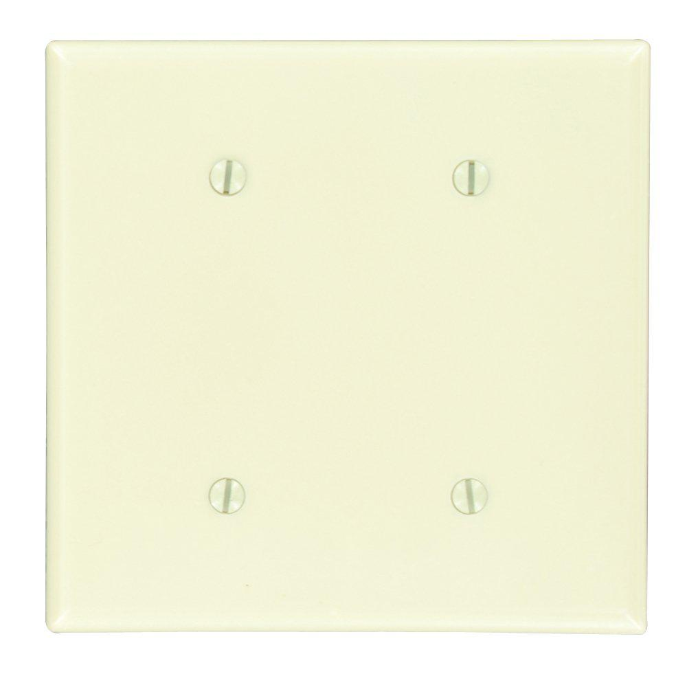 2-Gang No Device Blank Wallplate, Standard Size, Thermoset, Strap Mount, Ivory