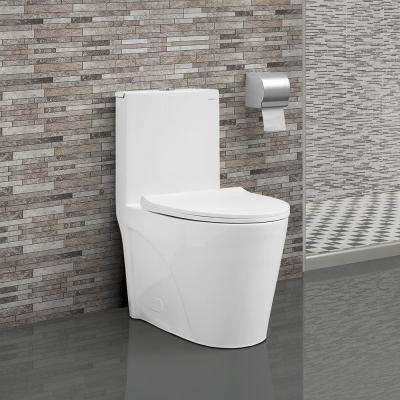 St.Tropez 1-Piece 0.8/1.28 GPF Dual Flush Elongated Toilet in White