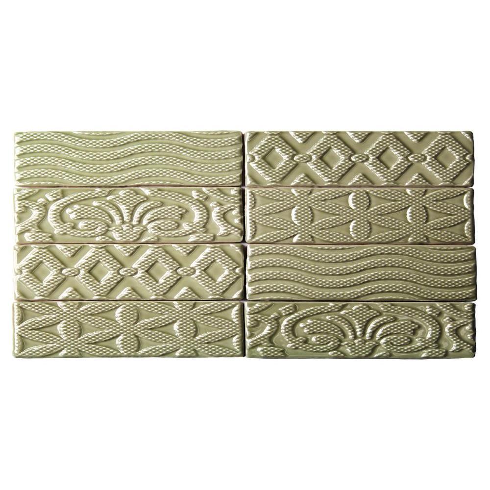 Catalina Deco Kale Ceramic Wall Tile - 3 in. x 6 in. Tile Sample