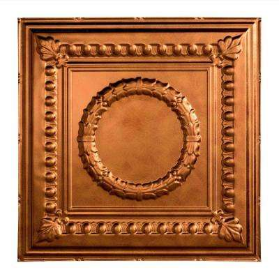 Rosette - 2 ft. x 2 ft. Vinyl Lay-In Ceiling Tile in Antique Bronze