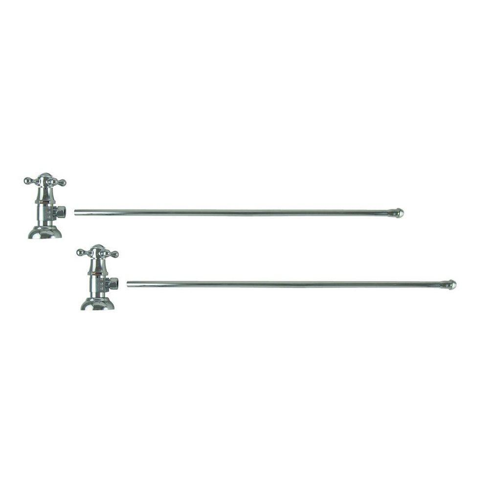 null 3/8 in. O.D x 20 in. Brass Rigid Lavatory Supply Lines with Cross Handle Shutoff Valves in Polished Chrome
