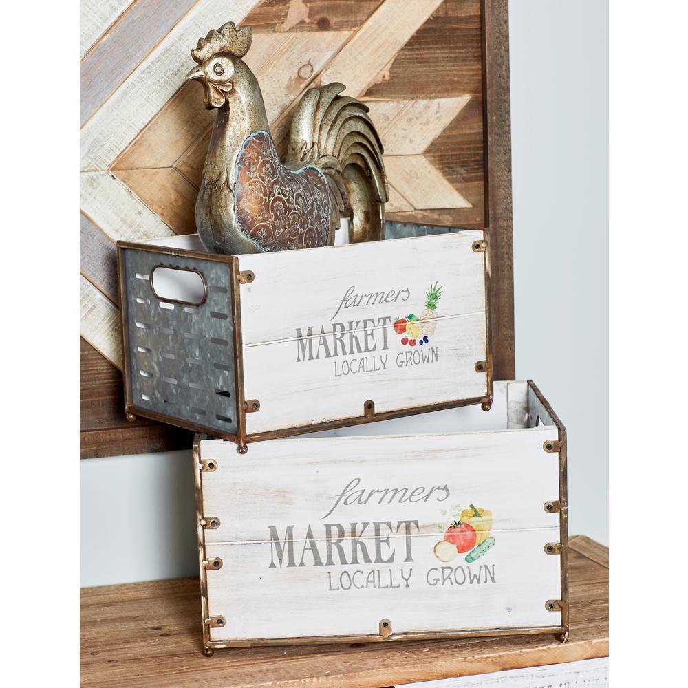 Rectangular Wood Market Crates (Set of 3)