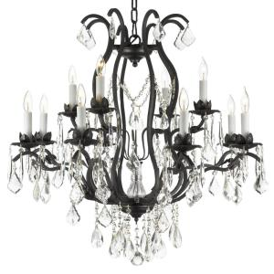 Versailles 12-Light Wrought Iron and Crystal Chandelier by