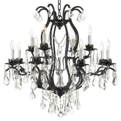Versailles 12-Light Wrought Iron and Crystal Chandelier