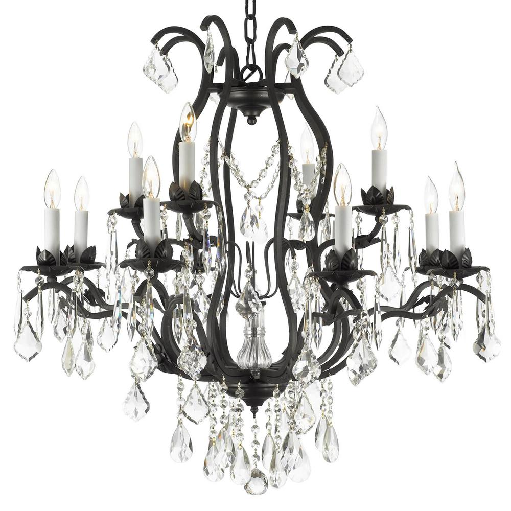 Harrison Lane Versailles 12-Light Wrought Iron and Crystal Black Chandelier with Swarovski Crystal