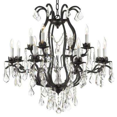 Versailles 12-Light Wrought Iron and Crystal Black Chandelier with Swarovski Crystal