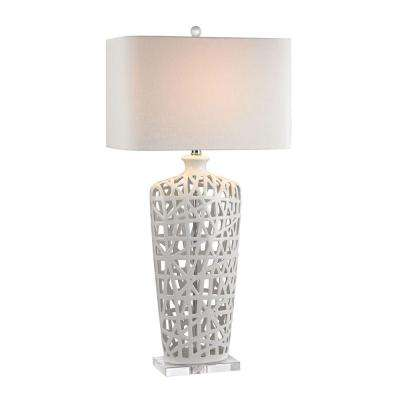 36 in. Gloss White and Crystal Ceramic Table Lamp