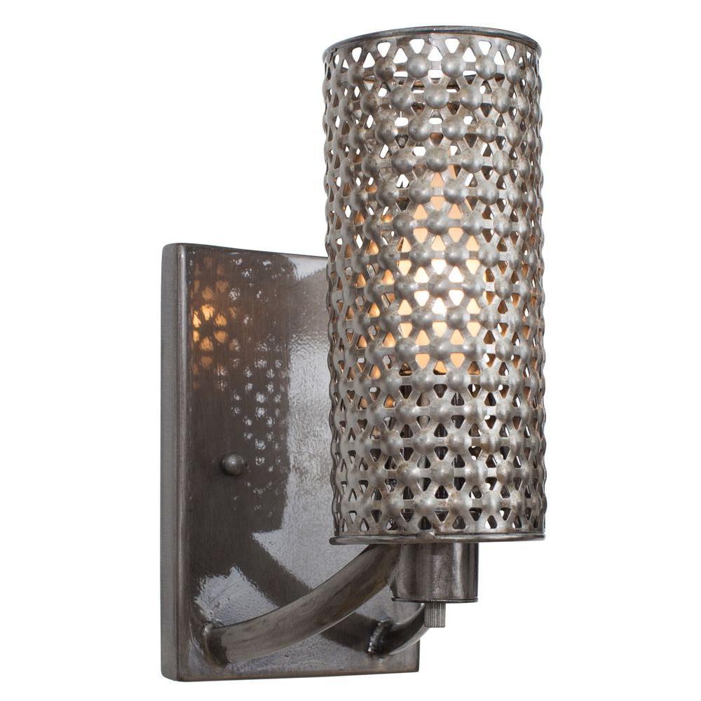 Casablanca 1-Light Steel Bath Vanity Light with Recycled Steel Mesh