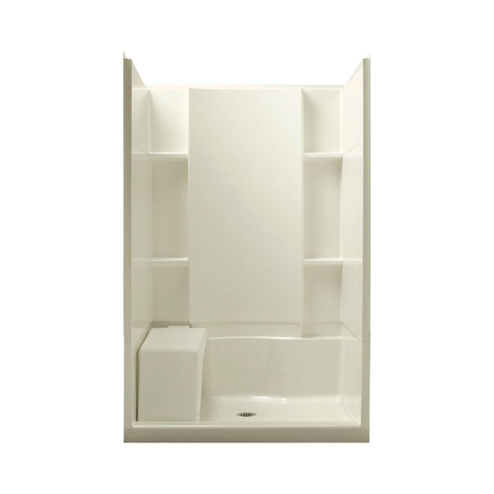 STERLING Accord Seated 36 in. x 48 in. x 74-1/2 in. Shower Kit in Biscuit