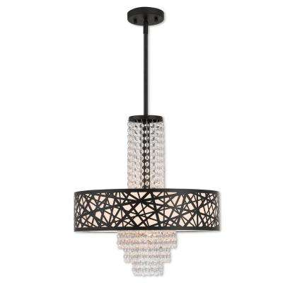 Allendale 4-Light Bronze Pendant Chandelier with Oatmeal Color Fabric Hardback Shade