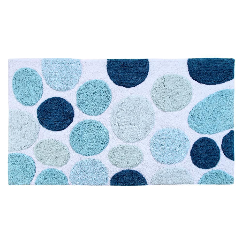 Saffron Fabs Bath Rug Cotton 50 In X 30 Latex Spray Non Skid Backing Multiple Blue Pebble Stone Pattern Machine Washable