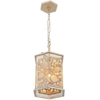 Fascination 1-Light Zen Gold with Recycled Champagne Glass Hex Foyer Pendant
