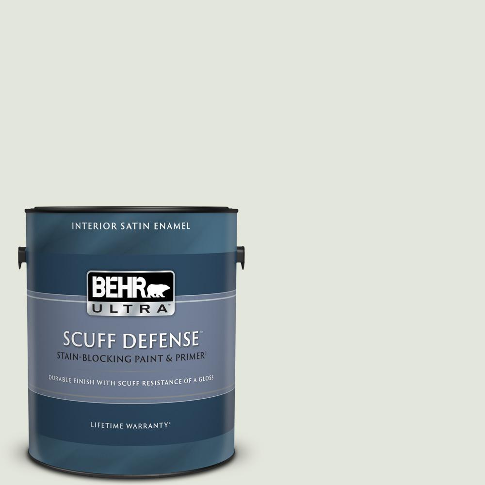 Behr Ultra 1 Gal Bl W06 Whispering Waterfall Extra Durable Satin Enamel Interior Paint And Primer In One 775001 The Home Depot