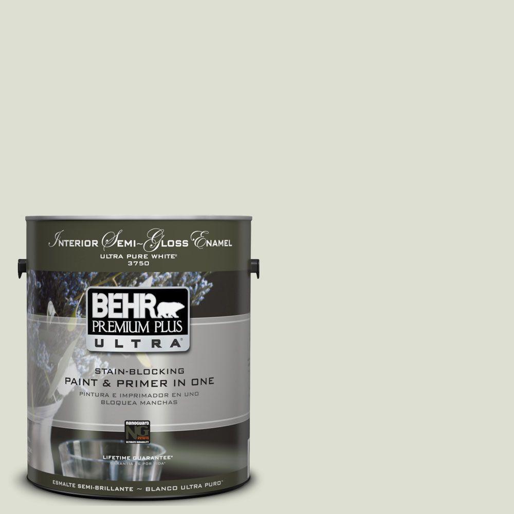 BEHR Premium Plus Ultra 1-gal. #UL210-10 Whitened Sage Interior Semi-Gloss Enamel Paint
