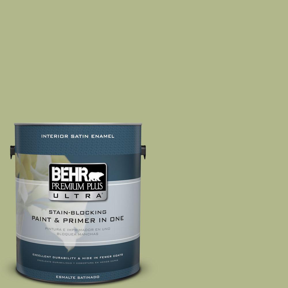 BEHR Premium Plus Ultra 1-gal. #M350-4 Sweet Grass Satin Enamel Interior Paint