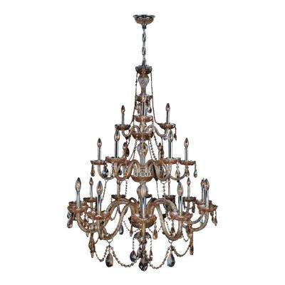 Provence Collection 21-Light Polished Chrome Amber Crystal Chandelier
