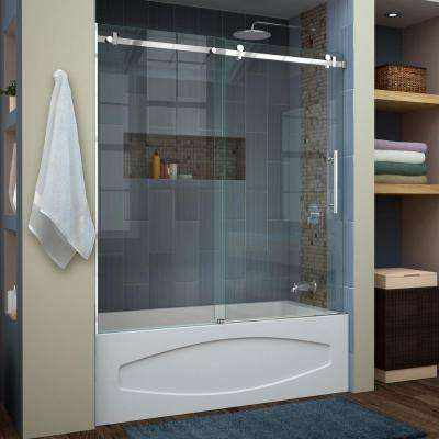 Enigma Air 56 in. to 60 in. x 62 in. Frameless Sliding Tub Door in Polished Stainless Steel