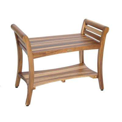 EarthyTeak Symmetry 29 in. Teak Shower Bench with Shelf And LiftAide Arms