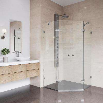 Gemini 40 in. x 73.375 in. Frameless Neo-Angle Hinged Shower Enclosure in Chrome and Clear Glass