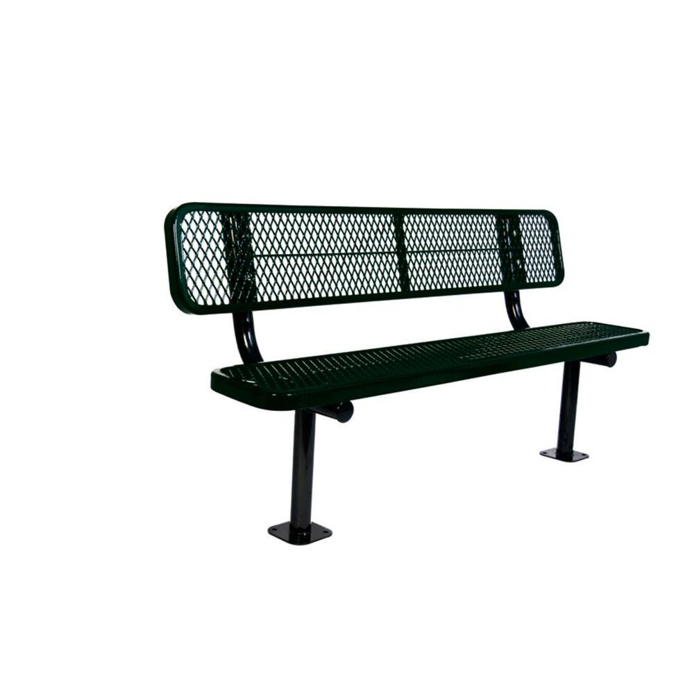 Ultra Play 6 ft. Diamond Black Commercial Park Bench with Back Surface Mount